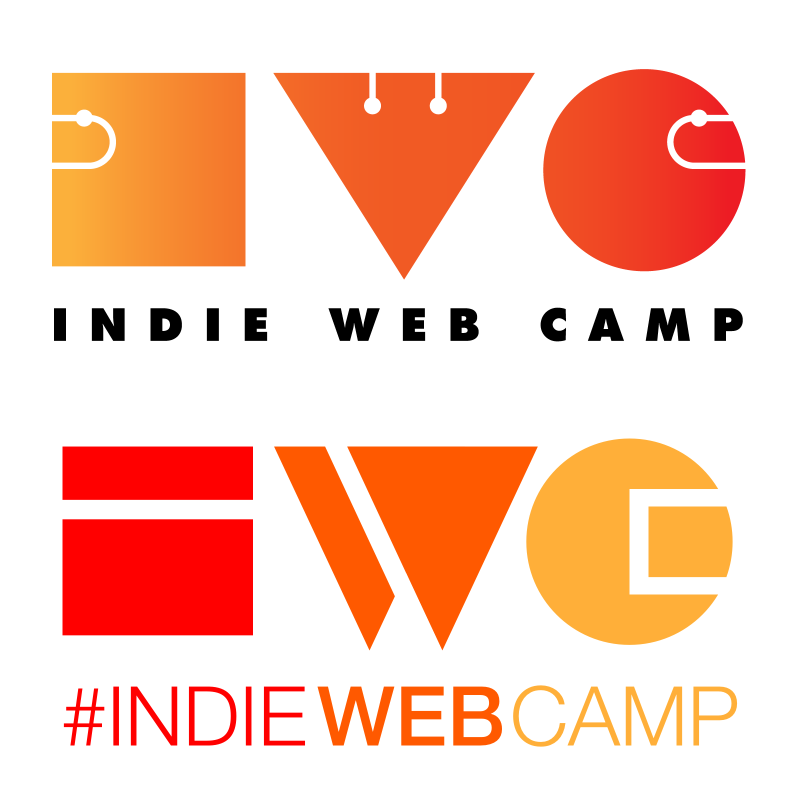 Current and New IndieWebCamp logo comparison